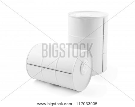 White metal mini decorative barrel isolated on white. containers of vodka.