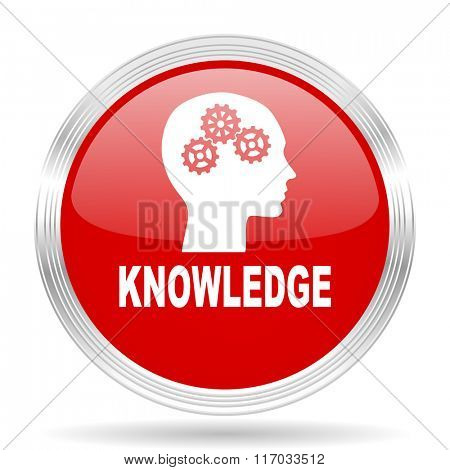 knowledge red glossy circle modern web icon on white background