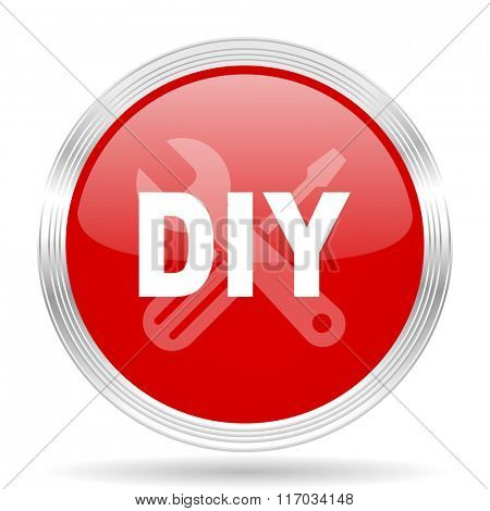diy red glossy circle modern web icon on white background