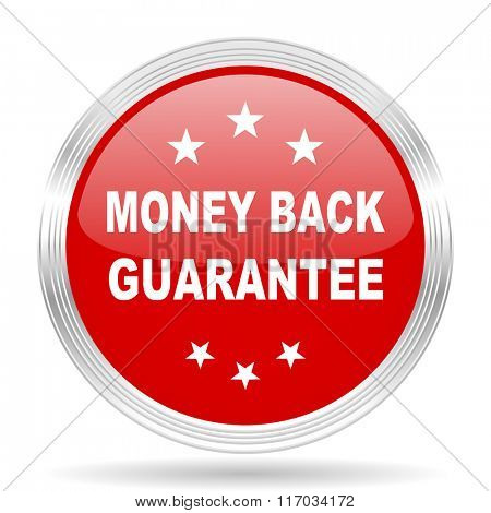 money back guarantee red glossy circle modern web icon on white background