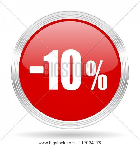 10 percent sale retail red glossy circle modern web icon on white background
