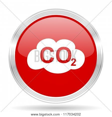 carbon dioxide red glossy circle modern web icon on white background