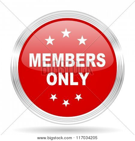 members only red glossy circle modern web icon on white background