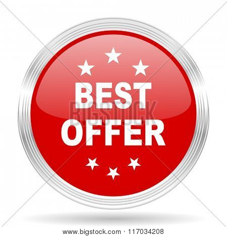 best offer red glossy circle modern web icon on white background