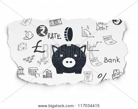 Currency concept: Money Box With Coin on Torn Paper background