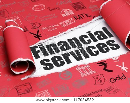 Currency concept: black text Financial Services under the piece of  torn paper