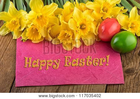 Yellow flowers greeting card Happy Easter