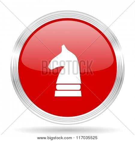chess horse red glossy circle modern web icon on white background