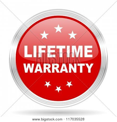 lifetime warranty red glossy circle modern web icon on white background