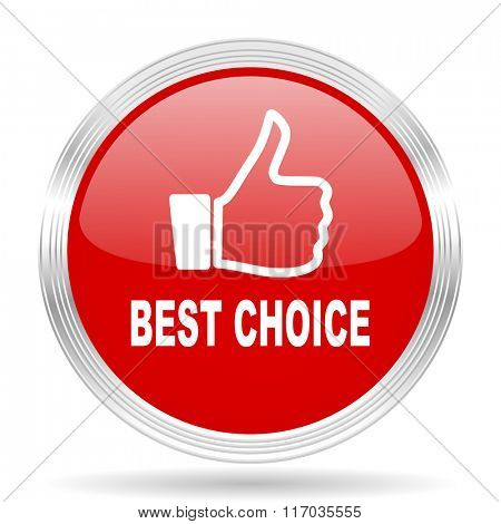 best choice red glossy circle modern web icon on white background