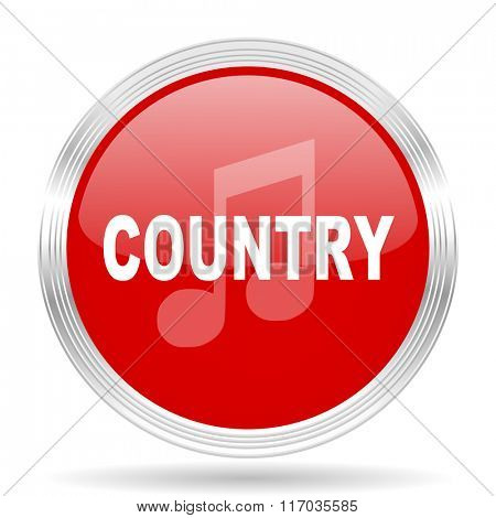 music country red glossy circle modern web icon on white background