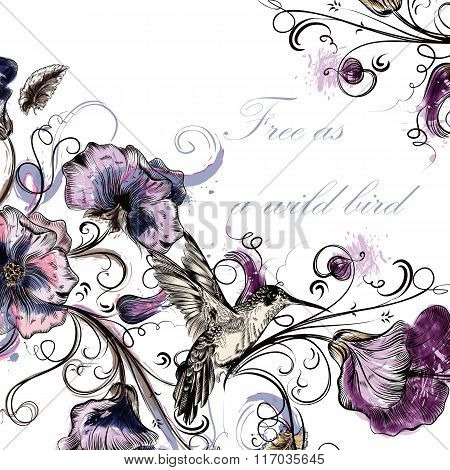 Beautiful Vector Back With Orchid Flowers Hummingbirds