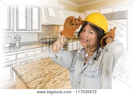 Pretty Hispanic Woman in Hard Hat and Gloves with Kitchen Drawing and Photo Gradation Behind.