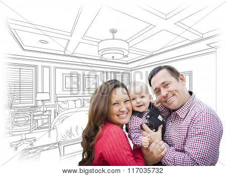 Happy Young Family With Baby Over Custom Bedroom Drawing.