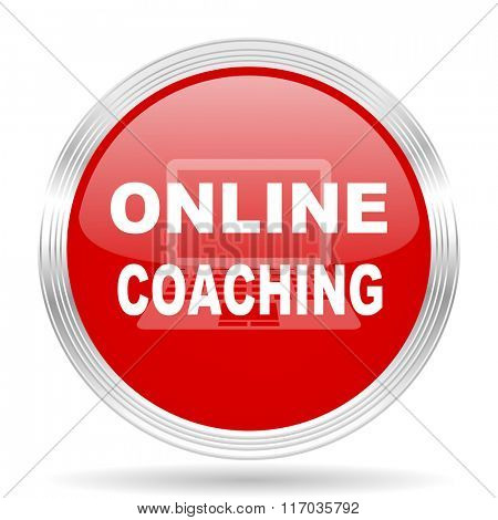 online coaching red glossy circle modern web icon on white background