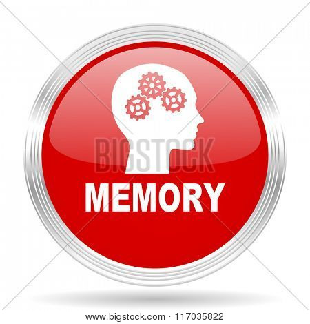 memory red glossy circle modern web icon on white background