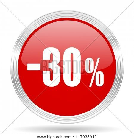 30 percent sale retail red glossy circle modern web icon on white background