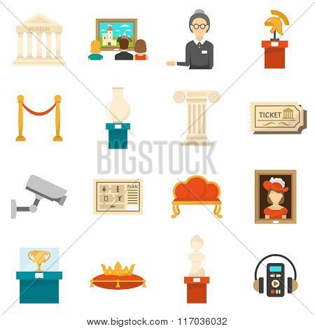 Museum Decorative Flat Color Icons Set
