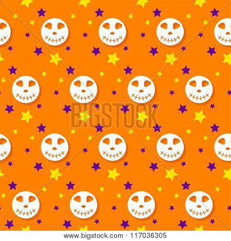 Halloween Seamless Pattern Background With Cartoon Elements
