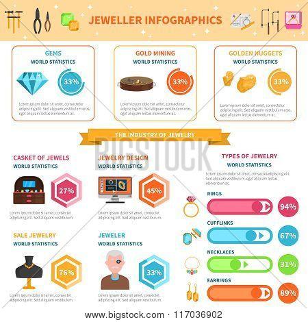 Jeweller infographics set