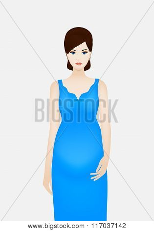 Pregnant woman in blue dress