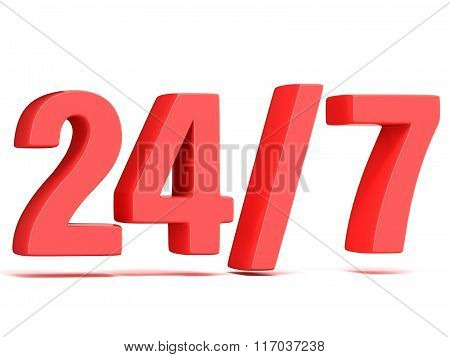 Red 24 hours 7 days a week sign. 3D