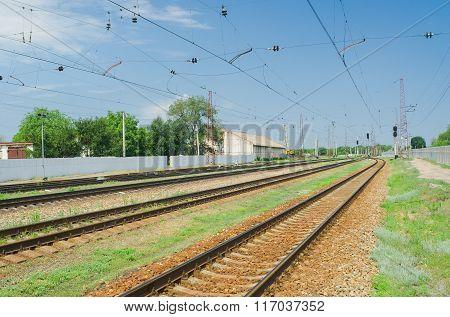 Ukrainian railroad landscape at summer season