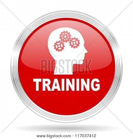 training red glossy circle modern web icon on white background