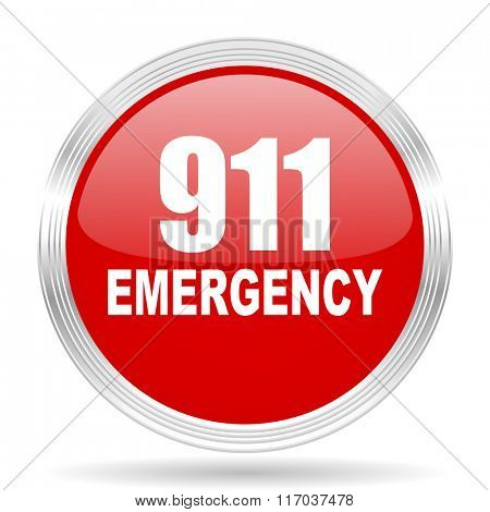 number emergency 911 red glossy circle modern web icon on white background