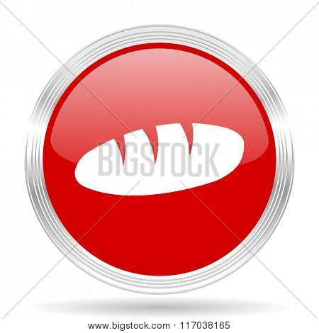bread red glossy circle modern web icon on white background