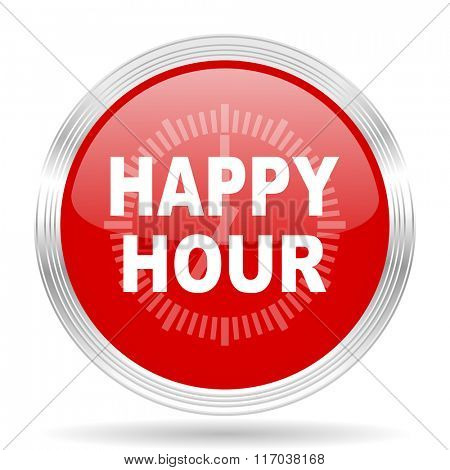happy hour red glossy circle modern web icon on white background