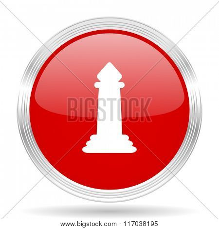 chess red glossy circle modern web icon on white background