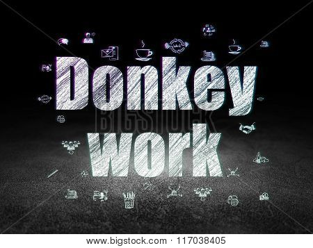 Finance concept: Donkey Work in grunge dark room