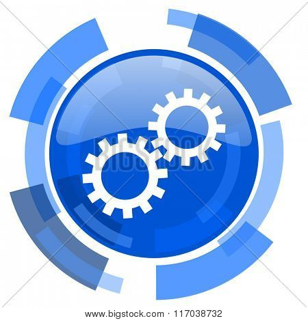 gear blue glossy circle modern web icon