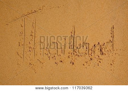 Thailand Written In  Sandy Beach