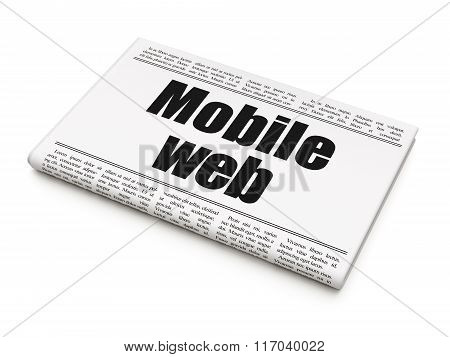 Web development concept: newspaper headline Mobile Web
