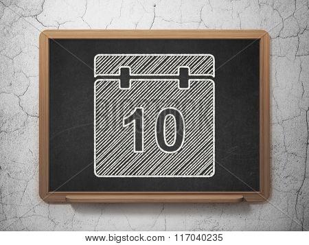 Time concept: Calendar on chalkboard background