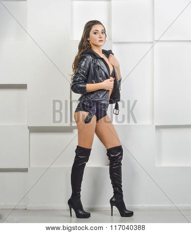 girl in Leather Jacket and boots