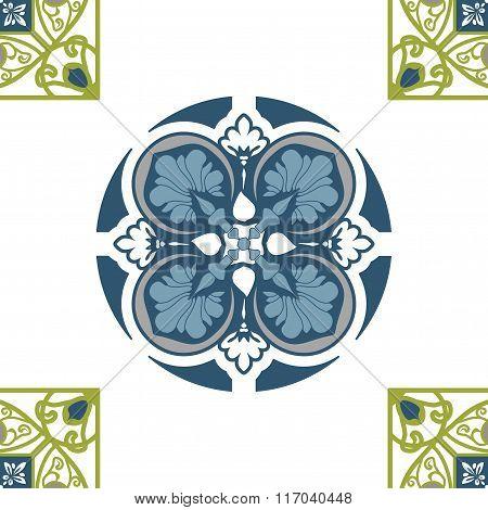 Seamless elegant Ornamental pattern. Ceramic tiles. Orient traditional ornament. Oriental and ethnic