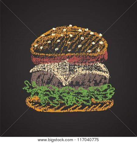 Chalk painted colorful illustration of cheeseburger.