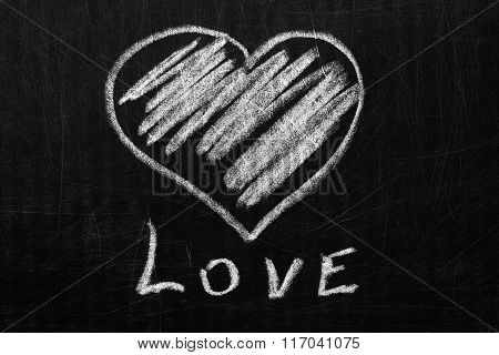 Heart And Love The Chalk On The Blackboard.