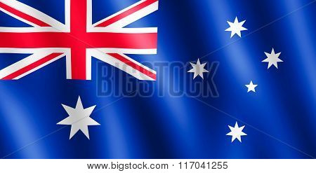 Flag Of Australia Waving In The Wind