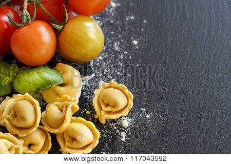 Homemade Raw Tortellini With Fresh Tomatoes And Basil
