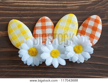 Artificial Easter eggs with flower