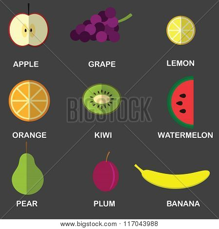 Icons of fruit in the style of the flat.