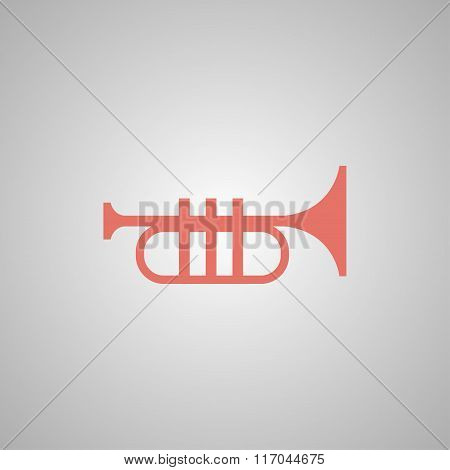 Trumpet Icon. Flat