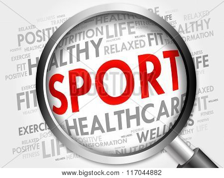Sport Word Cloud With Magnifying Glass