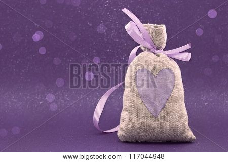 Bag With A Painted Heart On The Shiny Background. Valentine's Day And Mother's Day Background. Love