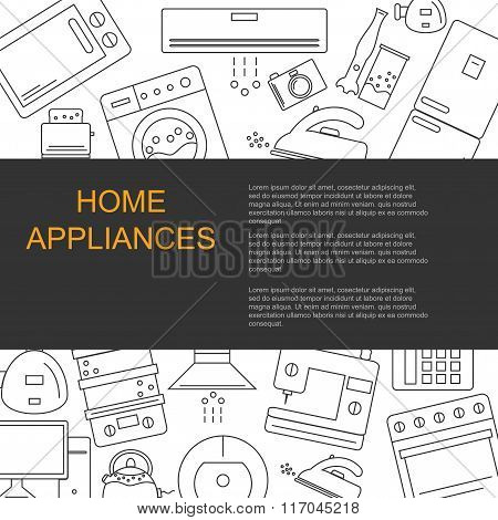 Vector illustration of different home appliances.