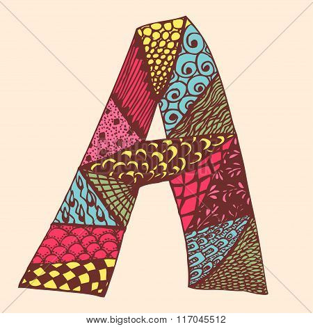 Vintage monogram A. Doodle colorful alphabet character with patterns